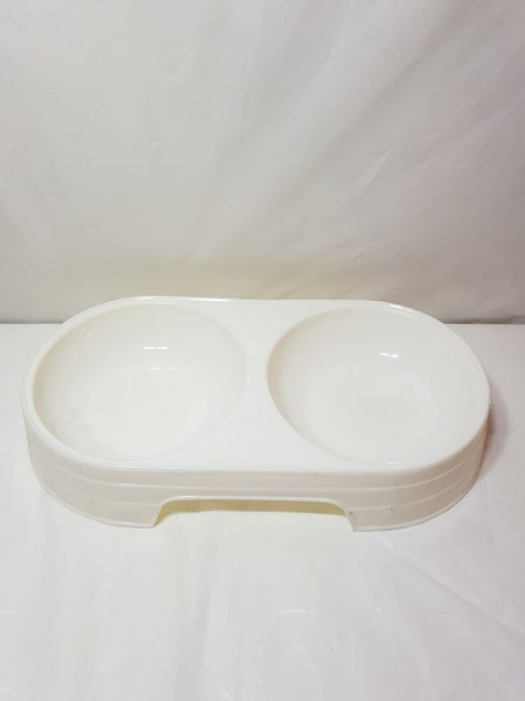 Pet Food Double Bowl - 2 Colours - Black And White